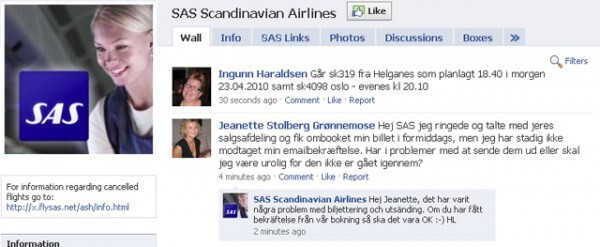 SAS Facebook Icelandic volcano eruption