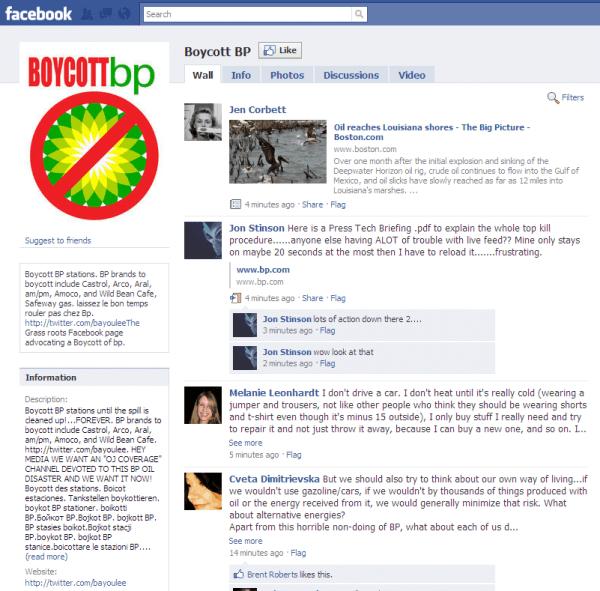 Facebook group Boycott BP