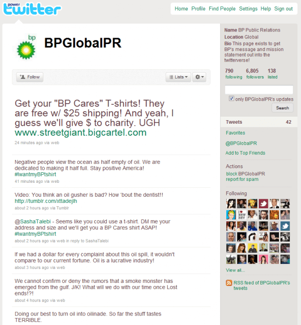 BP Global PR - Twitter used for social media attack