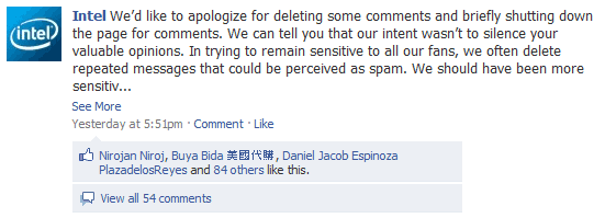 Fail to understand the power of social media - Intel Facebook sorry
