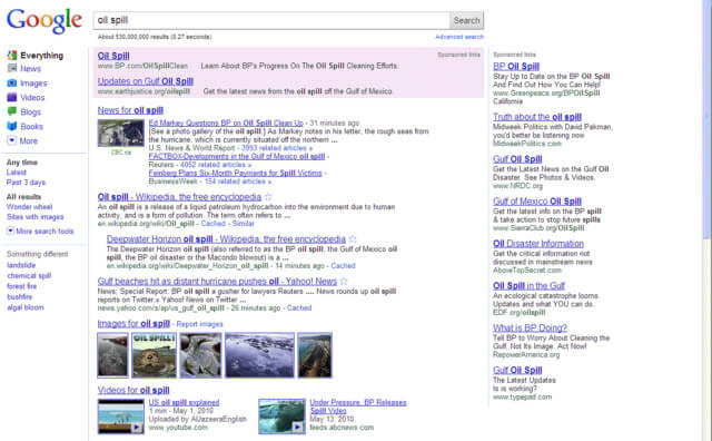 BP Google Oil Spill - Redirect traffic as a crisis management tool