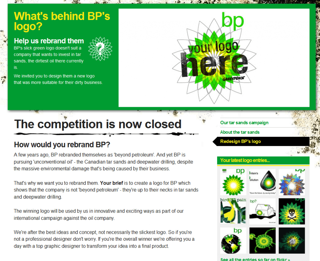 "Greenpeace initiated a ""Rebrand the BP Logo"" contest"