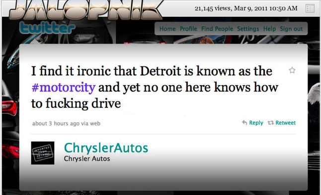 Chrysler - Corporate Twitter Failure