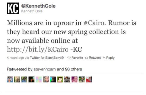 Kenneth Cole - How not to use hashtags