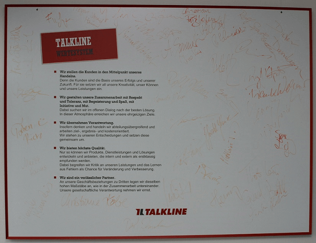 Corporate values shape the culture -Talkline Value Wall