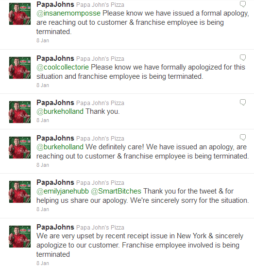 Papa Johns issued an apology