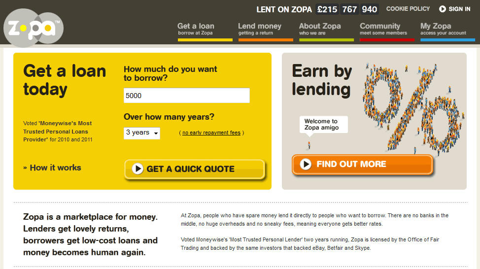 Collaborative consumption - Zopa social lending