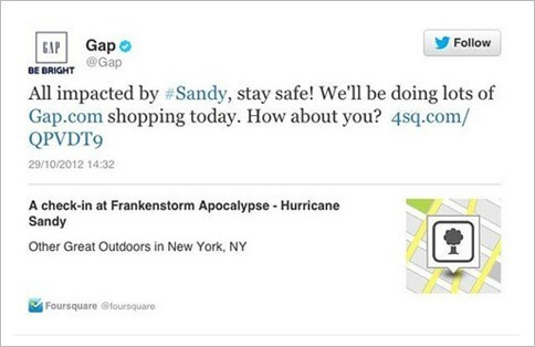 Gap Tweet Hurricane Sandy