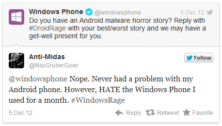 Social media failures from 2012 - Windows phone tweet Android