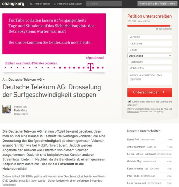 Social media protest - Deutsche Telekom