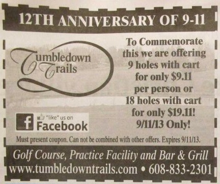 Do you want backlash and negative comments from customers - Wisconsin golf course Tumbledown Trails