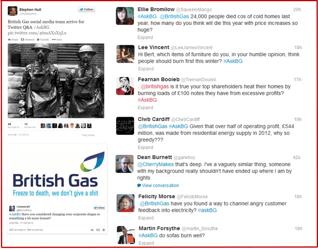 Rising fuel costs lead to social media attacks - British Gas - #AskBG Shitstorm