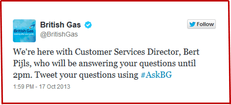 British Gas Twitter - Hastag AskBG