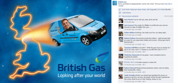 Brtish Gas Facebook Attack - Backlash on Twitter