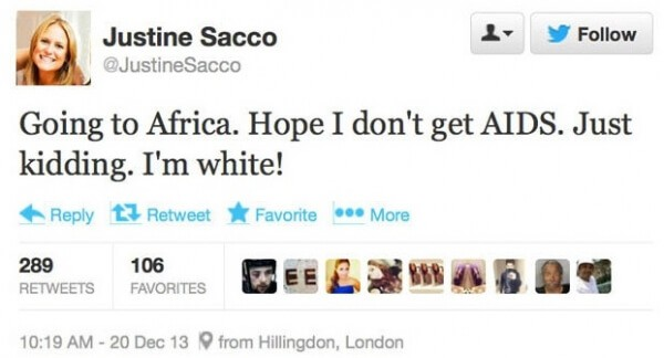 Going to Africa - Tweet Justine Sacco