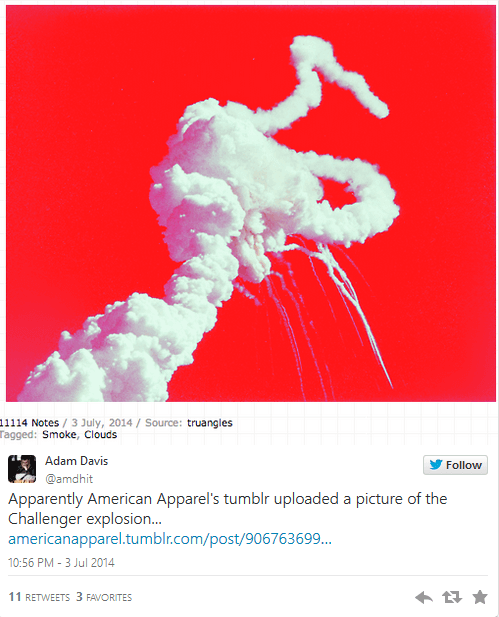 Challenger tragedy - American Apparel in terrible PR fail