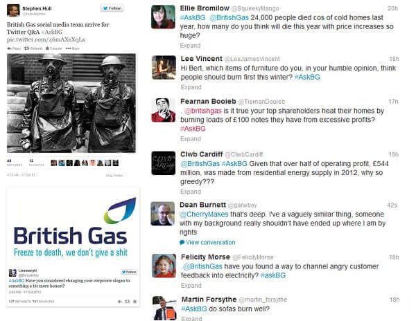 British Gas Twitter Attack