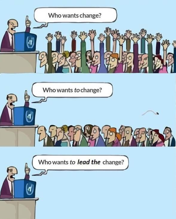 Who wants change? Who wants to change? Who wants to lead change?